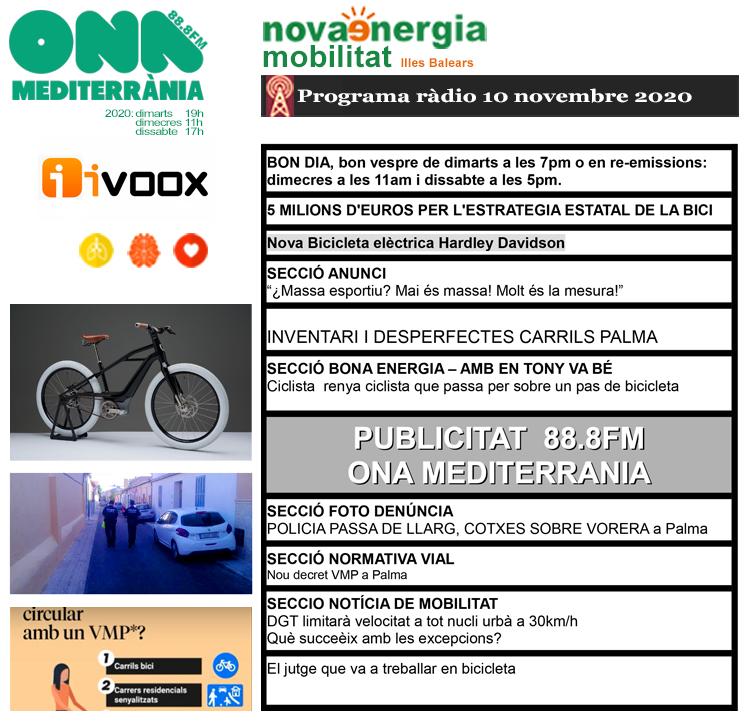 Programa ràdio Revista NOVA ENERGIA MOBILITAT 10NOV2020