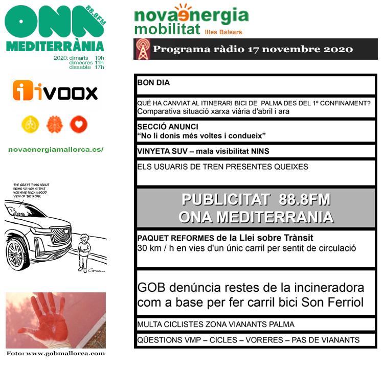 Programa ràdio Revista NOVA ENERGIA MOBILITAT 17NOV2020