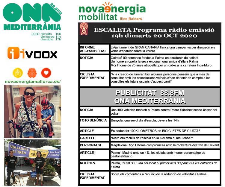 Programa ràdio Revista NOVA ENERGIA MOBILITAT 20OCT2020