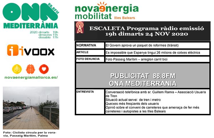 Programa ràdio Revista NOVA ENERGIA MOBILITAT 24NOV2020