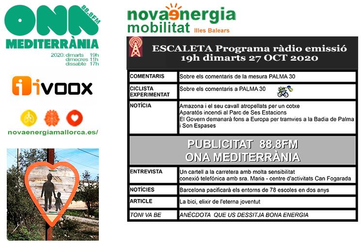 Programa ràdio Revista NOVA ENERGIA MOBILITAT 27OCT2020
